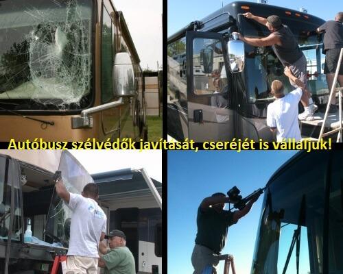busz szélvédő javítás