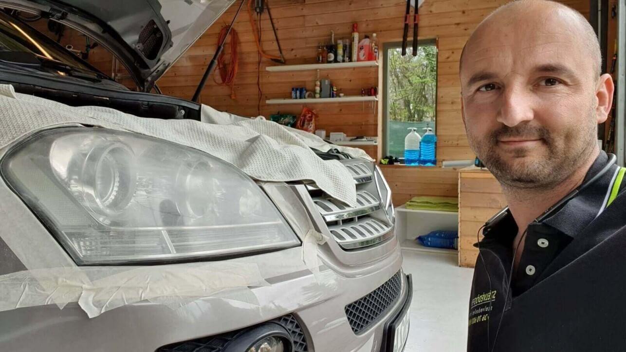 Mercedes fényszóró polírozás